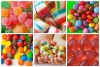 six different images of assorted colorful candies