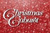 Christmas cabaret text snowflakes on red background