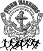 logo for storm warriors 5K with anchor people running